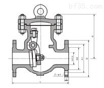 DH44Y型低温旋启式美标止回阀150(Lb)~600(Lb) 外形连接尺寸图